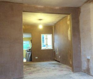 steel beam fitted plastered